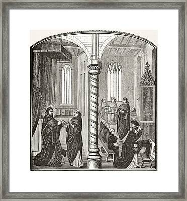 A School Of Mendicant Monks And A Pupil Framed Print by Vintage Design Pics
