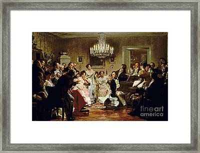 A Schubert Evening In A Vienna Salon Framed Print by Julius Schmid