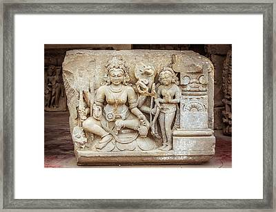 A Sculpture Of Durga In Abhaneri Framed Print by Nila Newsom