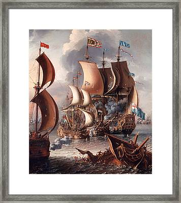 A Sea Fight With Barbary Corsairs Framed Print by Mountain Dreams