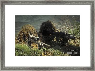 A Seal Sniper Swim Pair Set Up An Framed Print by Michael Wood