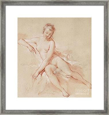 A Seated Female Nude  Framed Print