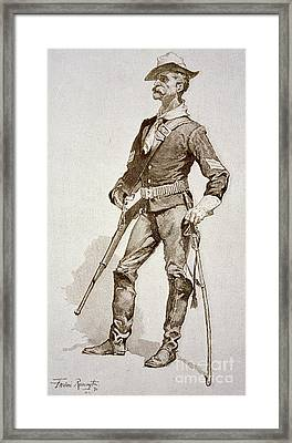 A Sergeant Of The Us Cavalry Framed Print by Frederic Remington