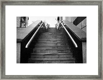 A Set Of Black And White Marble Stairs Framed Print