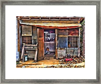 Framed Print featuring the photograph A Shack In Harrison by Kathy Tarochione