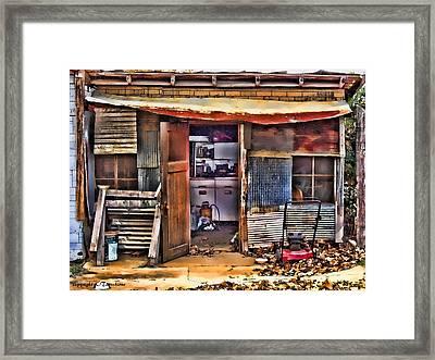A Shack In Harrison Framed Print by Kathy Tarochione