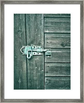 A Shed Door Framed Print by Tom Gowanlock