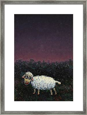 A Sheep In The Dark Framed Print