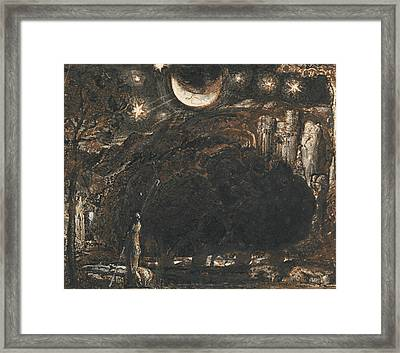 A Shepherd And His Flock Under The Moon And Stars Framed Print by Samuel Palmer