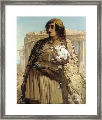 A Shepherd Boy Standing Before The Parthenon Framed Print