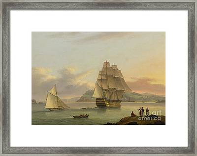 A Ship Of The Line Off Plymouth, 1817 Framed Print by Thomas Luny