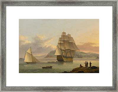 A Ship Of The Line Off Plymouth Framed Print by Thomas Luny