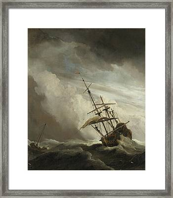 A Ship On The High Seas Caught By A Squall Framed Print by Willem van de Velde the Younger