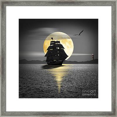 A Ship With Black Sails Framed Print by Monika Juengling
