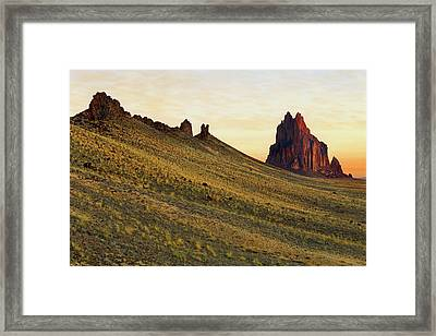 Framed Print featuring the photograph A Shiprock Sunrise - New Mexico - Landscape by Jason Politte