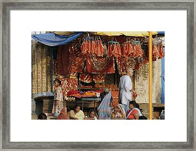 A Shop At The Ghat Framed Print