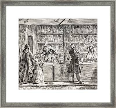 A Shop Selling Pottery And Pewter Ware Framed Print by Vintage Design Pics