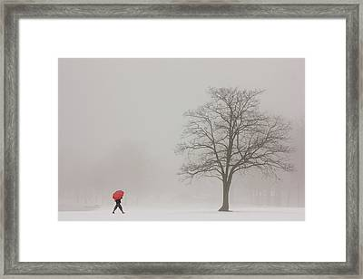 A Shortcut Through The Snow Framed Print