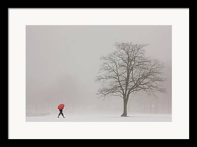 Lady With Red Umbrella Framed Prints