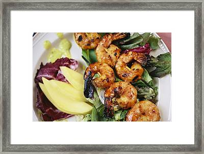 A Shrimp Dinner Is Attractively Served Framed Print