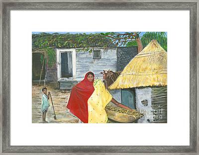 A Shy Woman Framed Print