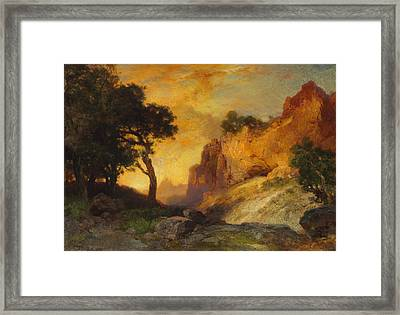 A Side Canyon Framed Print by Thomas Moran