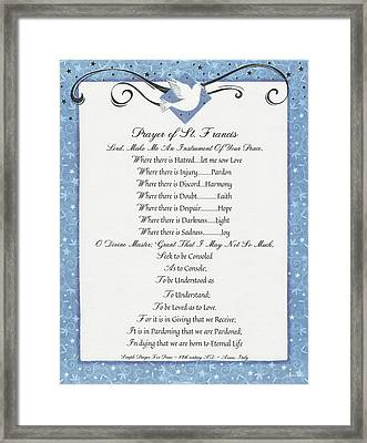 A Simple Prayer For Peace By St. Francis Of Assisi With White Dove Framed Print
