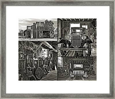 A Simpler Time - Collage Bw Framed Print