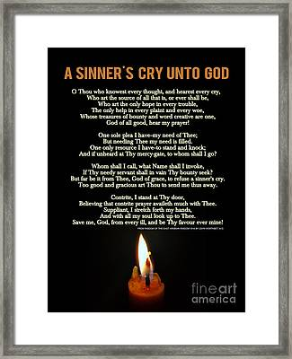 A Sinner's Cry Unto God Framed Print by Celestial Images