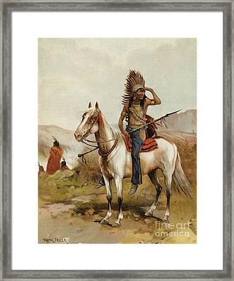 A Sioux Indian Chief Framed Print by Frank Feller