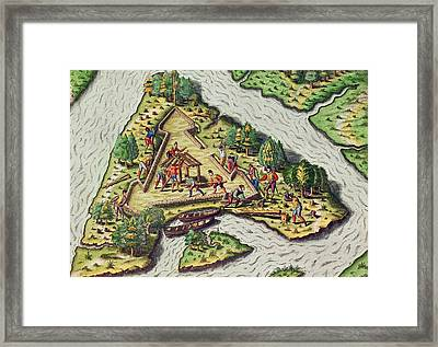 A Site For The Fort Is Chosen Framed Print by Theodore de Bry