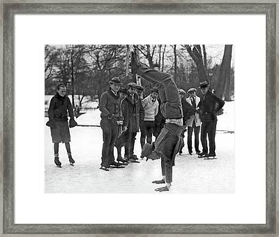 A Skater On His Hands  Framed Print by American School