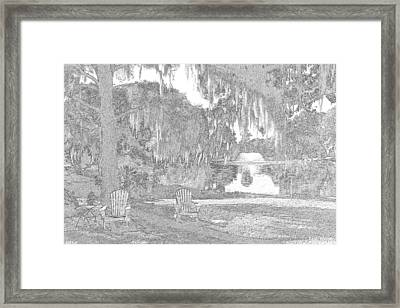 A Sketchy Garden At Charles Towne Landing Framed Print by Lisa Wooten