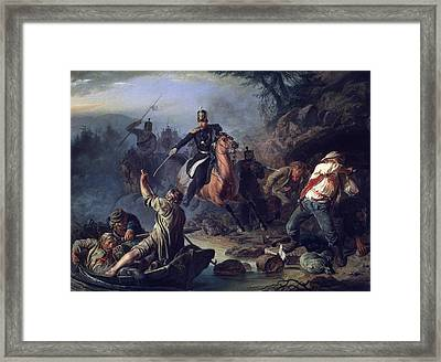 A Skirmish With Smugglers Framed Print by Vasily Grigorievich Khudyakov