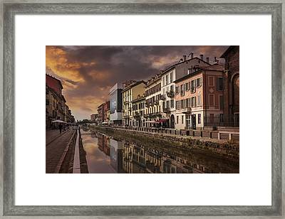 A Sleepy Sunday At Naviglio Grande Framed Print by Carol Japp