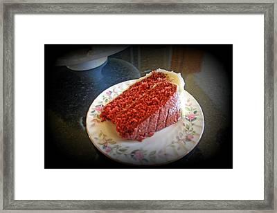 A Slice Of Red Velvet Cake Framed Print