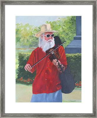 A Slim Fiddler For Peace Framed Print by Connie Schaertl
