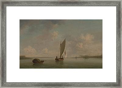 A Smack Under Sail In A Light Breeze In A River Framed Print by Charles Brooking