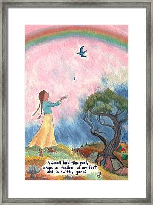 A Small Bird Haiku And Illustration Framed Print