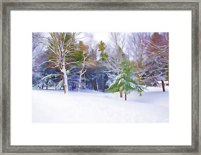 A Small Creek Flowing Snowy Winter Landscape Framed Print by Lanjee Chee