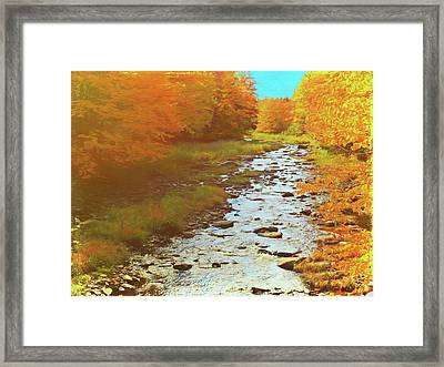 A Small Stream Bright Fall Color. Framed Print