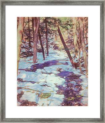 A Small Stream Meandering Through Winter Landscape. Framed Print