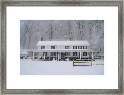 A Snowstorm At Valley Green Inn Framed Print by Bill Cannon