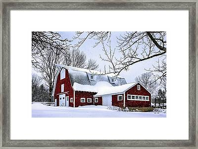 A Snowy Day At Grey Ledge Farm Framed Print