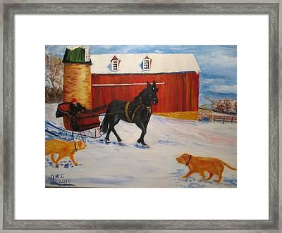 A Snowy Sleigh Ride Framed Print by Gloria Condon