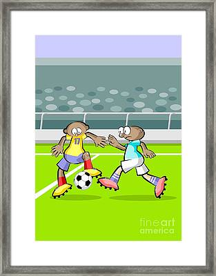 A Soccer Player Dominates The Ball While The Opponent Moves Fast Or Tries To Take It Away Framed Print