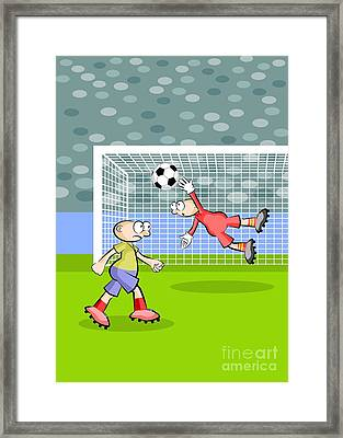 A Soccer Player Hits The Ball With The Head Managing To Elude The Goalkeeper And Score A Goal Framed Print