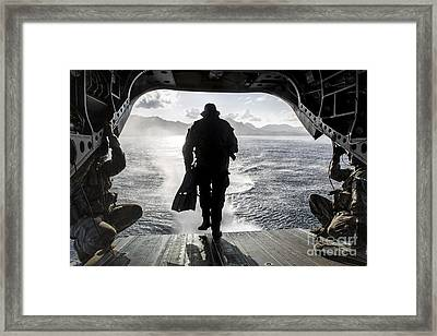 A Soldier Conducts A Combat Dive Framed Print