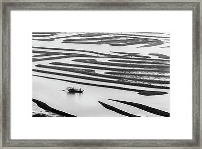 A Solitary Boatman. Framed Print