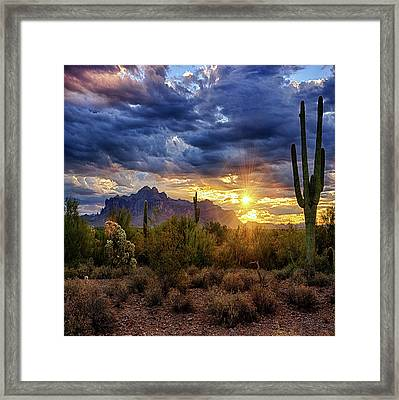 Framed Print featuring the photograph A Sonoran Desert Sunrise - Square by Saija Lehtonen
